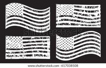 USA American grunge flag set, isolated on black background, vector illustration. #617038508