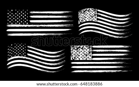 USA American grunge flag set, white isolated on black background, vector illustration. #648183886