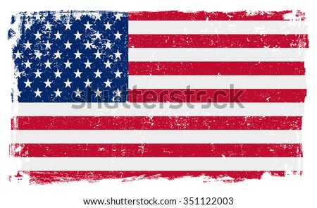 USA American vector flag isolated on white background.