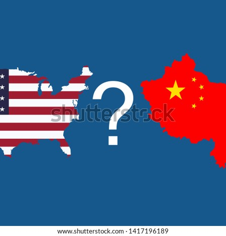 USA and China. American-Chinese conflict. Сountry conflict. Vector illustration. EPS 10.