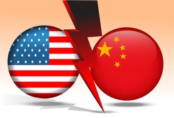 USA and China politics and trade war, financial concept. flash Lightning bolt on flag button of USA and China