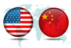 USA and China politics and trade war, financial concept.world map on flag button of USA and China