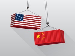 USA and China trade war concept, port crane lift two cargo containers.