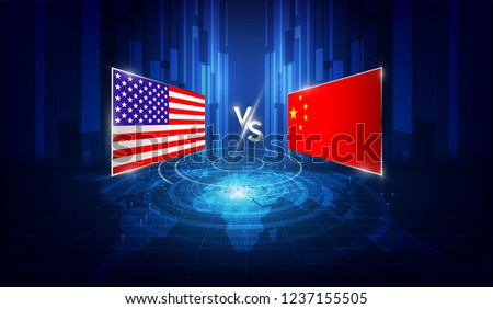 USA and China trade war. of global business Concept. vector illustration