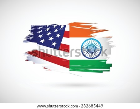 usa and india illustration