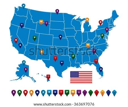 US State Flag Vectors Download Free Vector Art Stock Graphics - Us state flag map