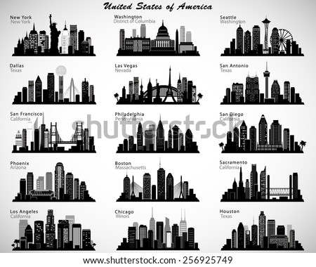 usa cities skylines set vector
