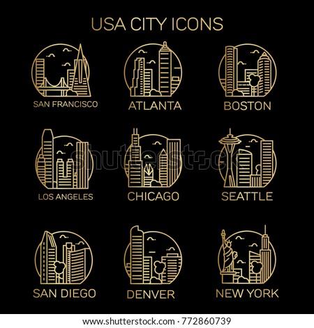 usa city icons vector