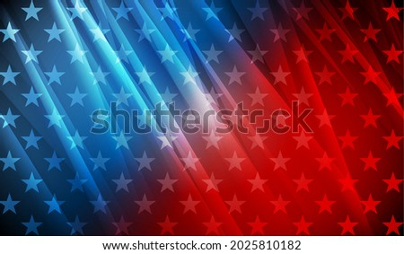 USA colors, stars and stripes abstract bright design. Independence Day modern vector background. Glossy concept american flag