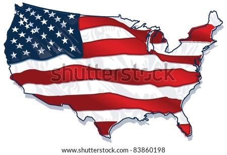 USA country-Shaped Flag