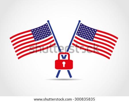 usa crossed flags emblem