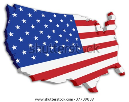 USA 3D State Flag map