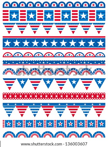 USA decorative borders ornamental rules dividers vector