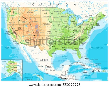 USA detailed physical map with roads, railroads, water objects, cities and capitals.
