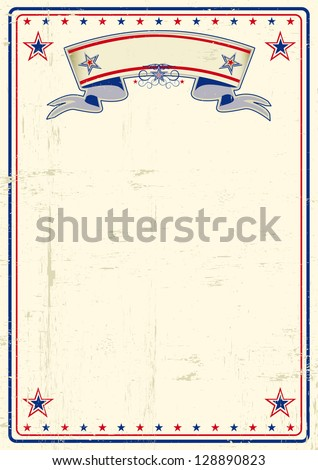 USA dirty poster. A vintage poster with a large scratched frame and a grunge background for your publicity.