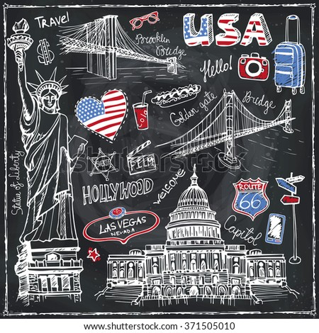 usa doodle set.american travel...