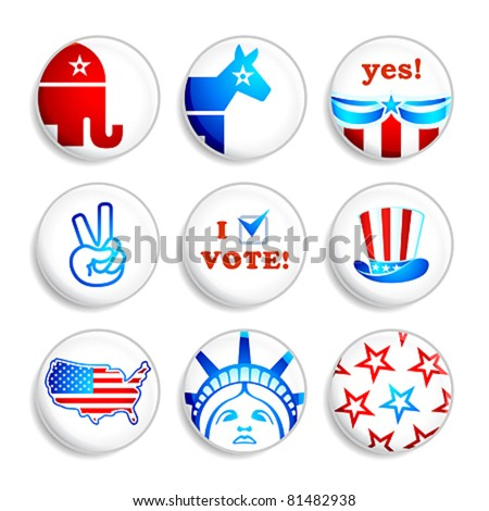 USA election campaign badges isolated over white