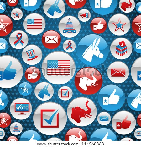 USA elections glossy buttons icon seamless pattern background. Vector file layered for easy manipulation and custom coloring.