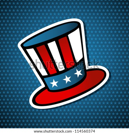 USA elections uncle Sam hat icon in sketch style over blue stars background. Vector file layered for easy manipulation and custom coloring.