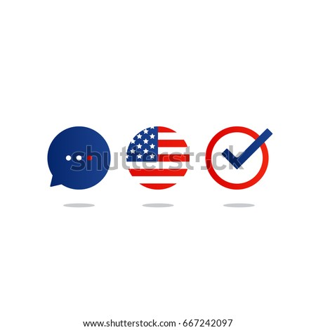 USA English language class concept icon set and flag logo, language exchange program, forum and international communication sign. Flat design vector illustration