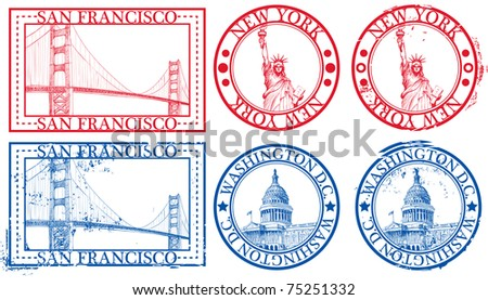 USA famous cities stamps with symbols: New York (Statue of Liberty), San Francisco (Golden Gate), Washington D.C. (United States Capitol)