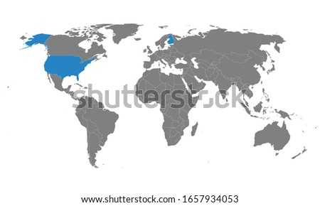 USA, Finland countries highlighted on world map. Gray background. Perfect for Business concepts, backgrounds, backdrop, chart, label, sticker, banner and wallpapers.