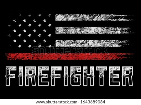 usa firefighter with thin red