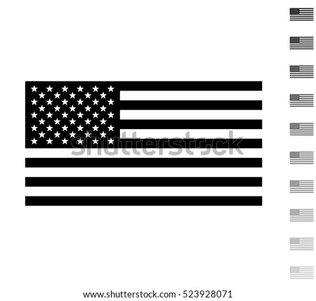 usa flag   black vector icon