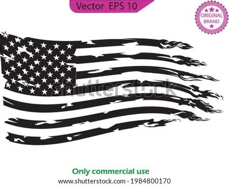 USA Flag. Distressed American waving flag with fire  elements, flag of America, patriot, military, veteran, army  flag,