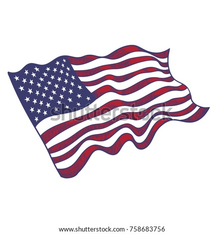 usa flag hand drawn on white