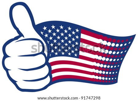 USA flag. Hand showing thumbs up.