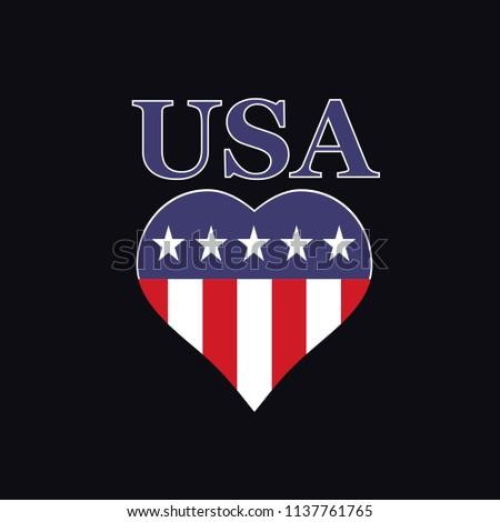 USA Flag Heart Tshirt Design. Vector.