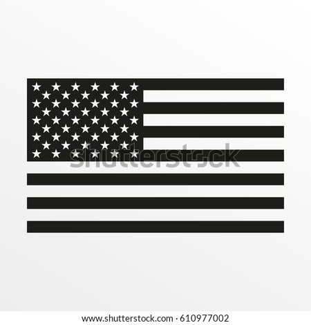 USA flag icon. Black and white United States of America national symbol. Vector illustration.
