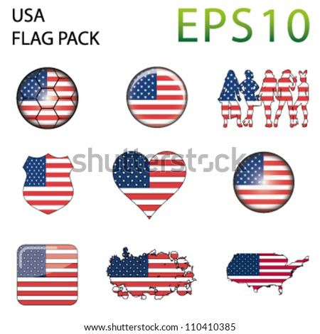 USA Flag Map Pack - 9 in Total