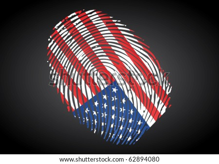 USA flag on Fingerprint stamp. can be used for many concepts.