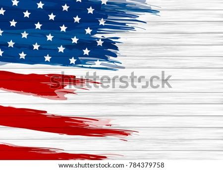 USA flag paintbrush on white wood texture background vector illustration