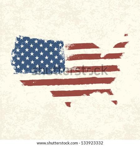 usa flag. shape of american map....