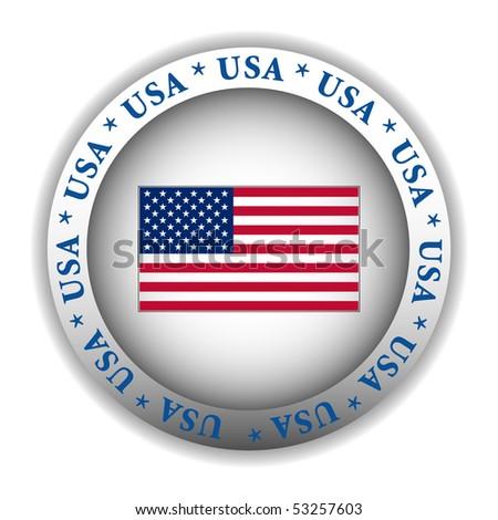 USA Flag Sign Button