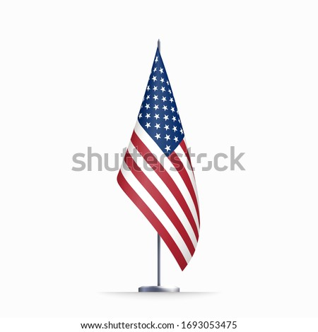 USA flag state symbol isolated on background national banner. Greeting card National Independence Day of the United States. Illustration banner with realistic state flag of America. Photo stock ©