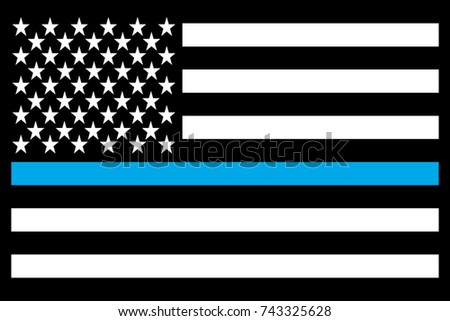 USA Flag Thin Blue Line Morale Patch Black. Vector.