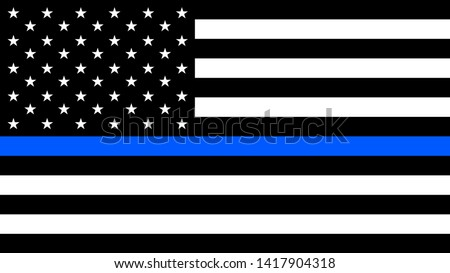 USA flag with a thin blue line - a sign to honor and respect american police, army and military officers.