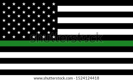 USA flag with a thin green line - a sign to honor and respect american border patrol, park rangers and federal agents