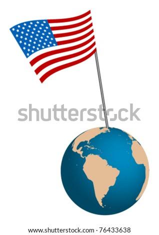 USA Flag with globe on white background