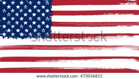 USA flag with ink grunge elements vector illustration #473036815