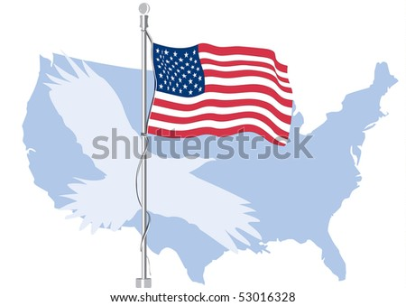 USA flag with map and silhouette of eagle