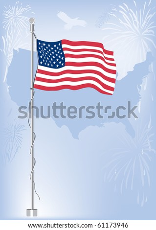 USA flag with us map in background with fireworks and eagle flying