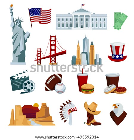 usa flat icons set with
