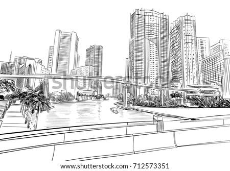 USA. Florida. Miami. Unusual perspective hand drawn sketch. City vector illustration