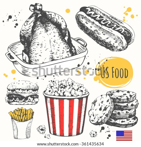 usa food in the sketch style