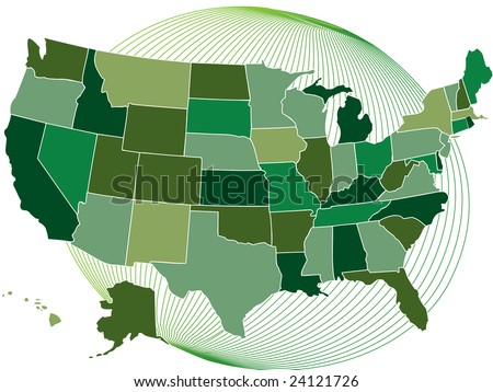 USA green map with globe
